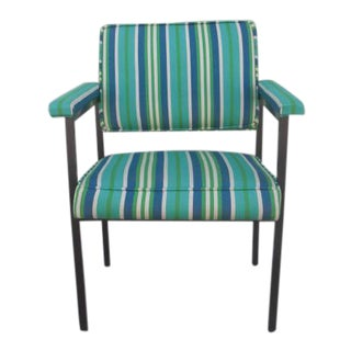 Mid-Century Modern Reupholstered Striped Steelcase Armchair