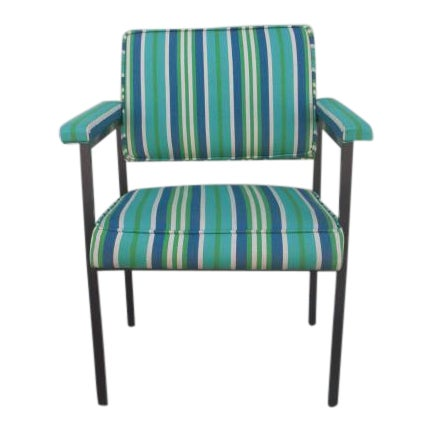 Mid-Century Modern Reupholstered Striped Steelcase Armchair For Sale