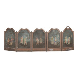 Antique Hand-Painted Brass Chinoiserie Fire Screen For Sale