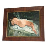 Image of Signed and Framed Nude Oil Painting on Panel For Sale