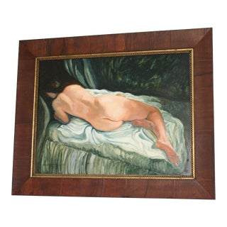 Signed and Framed Nude Oil Painting on Panel