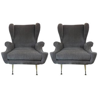 Mid Century Vintage Gio Ponti Inspired Italian Lounge Chairs- A Pair For Sale