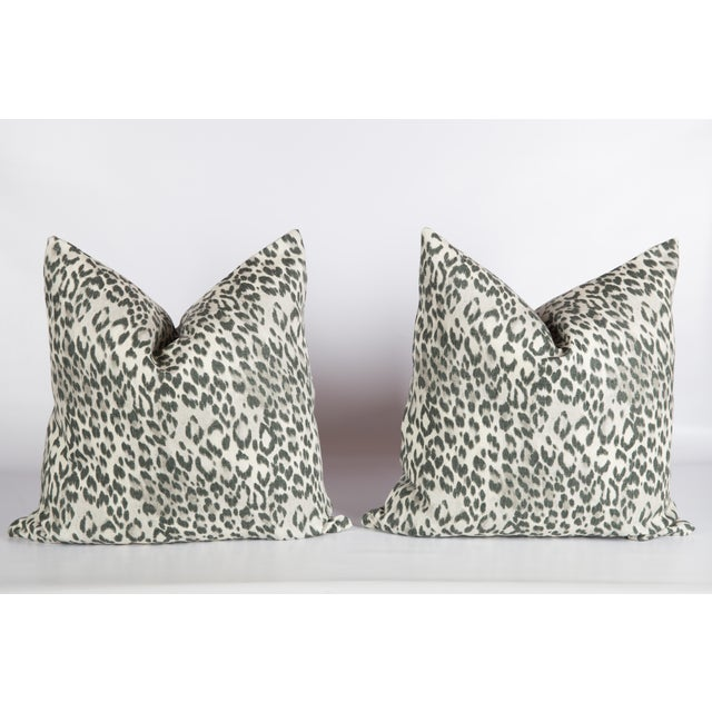 2010s Pewter Charcoal Gray Linen Leopard Pillows - a Pair For Sale - Image 5 of 5