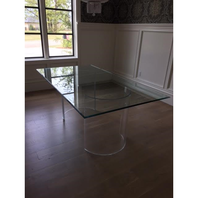 Vintage Lucite Base Dining Table For Sale - Image 10 of 10