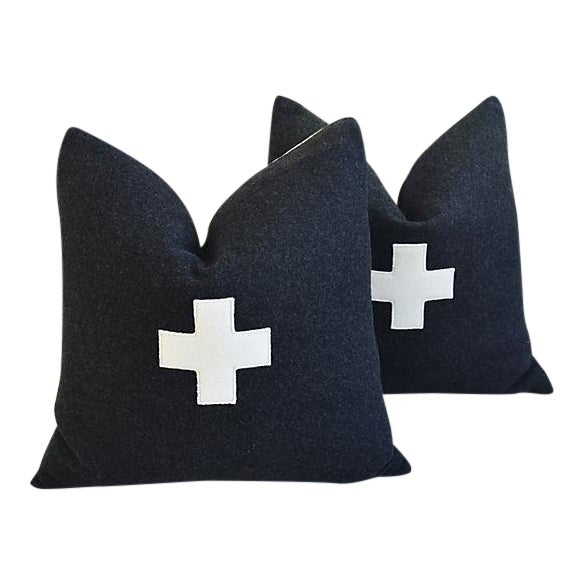 "22"" Custom Tailored Charcoal Appliqué Cross Wool Feather/Down Pillows - a Pair For Sale - Image 12 of 12"