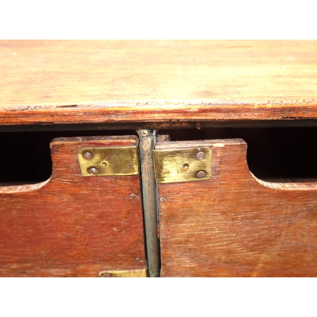Vintage French Country Table Top Storage Bin Drawers (6) W Decorative Brass For Sale - Image 9 of 12