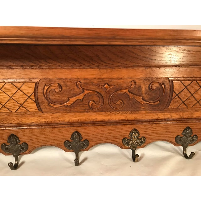 20th Century French Carved Tiger Oak Wall Shelf Coat Hat Rack For Sale In Dallas - Image 6 of 13