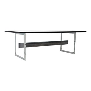 1970s Mid-Century Modern Lucite and Chrome Coffee Table For Sale