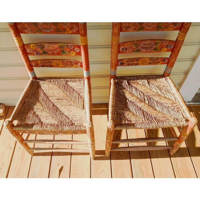 Vintage Painted Mexico Folk Art Rush Seat Chairs - a Pair For Sale - Image 10 of 11
