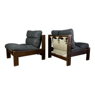 Pair 1970s Continental Lounge Chairs, Buckled Suede For Sale