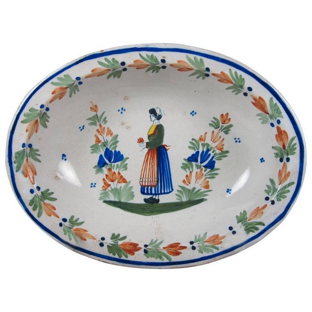 Blue HenRiot Quimper Rustic Faience Couronnes Bowl, Femme de la Campagne Breton For Sale - Image 8 of 8