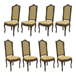French Country Louis XV Provincial Style Cane Back Dining Chairs - Set of 8 For Sale