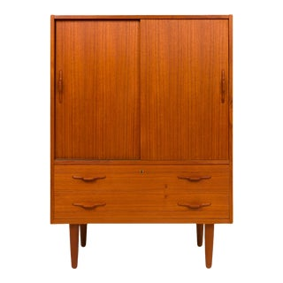 1960s Vintage Danish Mid-Century Teak Gentleman's Chest / Wardrobe For Sale