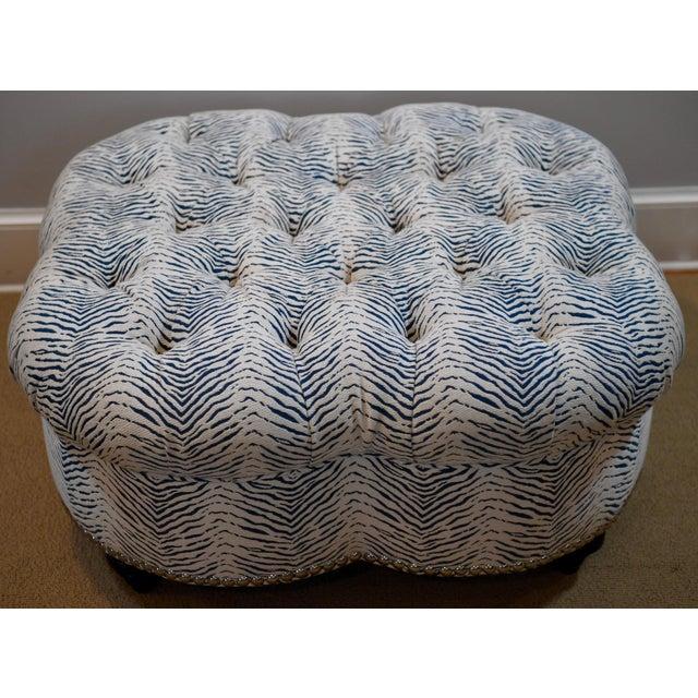 Kravet Upholstered Contemporary Tufted Oversized Round Ottoman Walnut Legs Animal Zebra Blue Cream Nailheads For Sale - Image 11 of 11