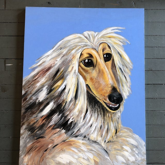1980s Large Contemporary Original Afghan Hound Dog Portrait Painting Signed For Sale - Image 5 of 5