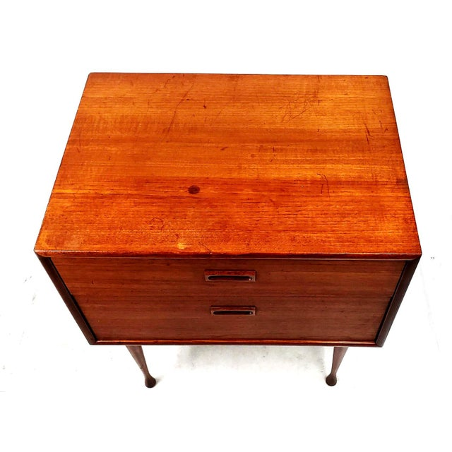 1960s Danish Modern Two Drawer Teak Table For Sale - Image 9 of 11