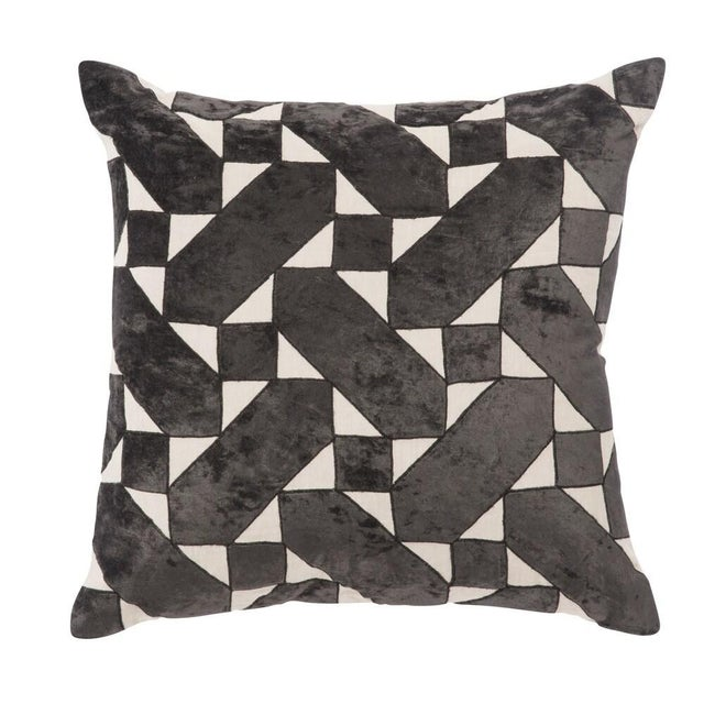 Ivory and Jet Black patterned pillow cover by designer Nikki Chu for Jaipur Living. Solid backing differs from front...