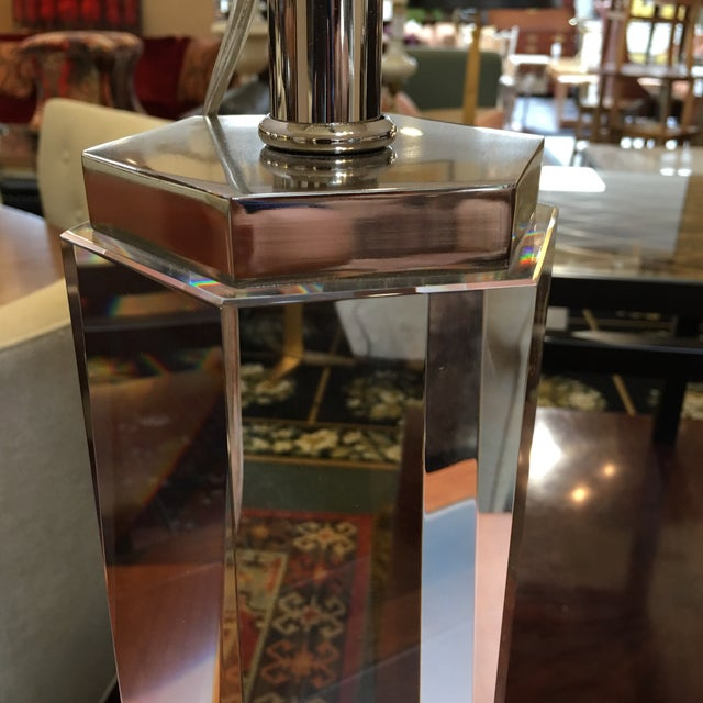 Restoration Hardware Hexagonal Column Crystal Table Lamps- A Pair - Image 5 of 9