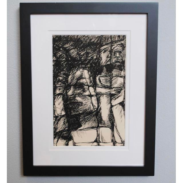 Abstract 1960s Expressionist Drawing For Sale - Image 3 of 4