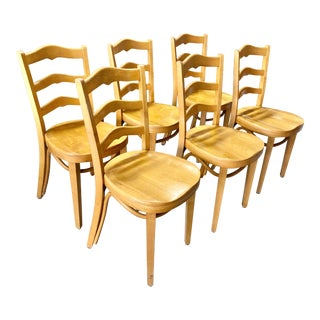Thonet Maple Ladderback Cafe Chairs - Set of 6 For Sale