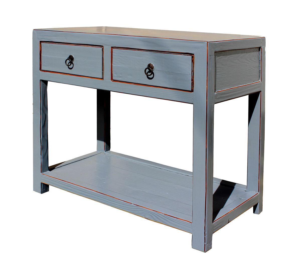 Charmant This Is A Simple Gray Color Finish Raw Wood Table With 2 Storage Drawers  And Open