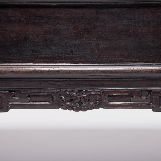 Metal Chinese Three Drawer Table With Carved Apron For Sale - Image 7 of 10