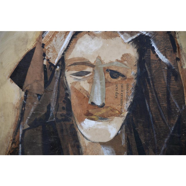 Tan Joaquim Sarriera (Spain, 20th C.) Original Portrait Mixed Media Collage C. 1962 For Sale - Image 8 of 10