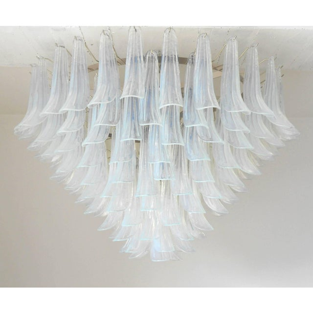Italian chandelier with opaline Murano glasses hand blown into beautiful small saddles or leaves, mounted on nickel frame...