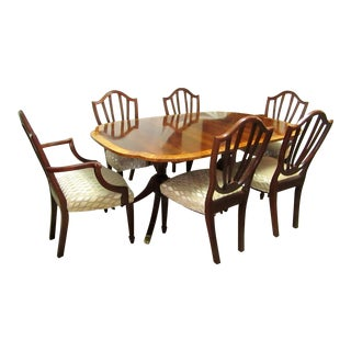 Baker Hepplewhite Dining Table and Shield Back Chairs Set