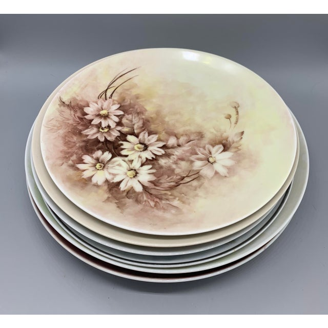 1940s Hand Painted Floral Decorative Wedding Plates - Set of 7 For Sale - Image 11 of 13