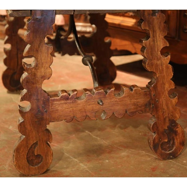 Late 18th Century 18th Century Spanish Carved Walnut Table Desk For Sale - Image 5 of 10