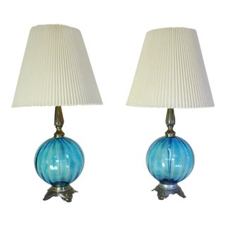 Mid-Century Hollywood Regency Blue Glass Lamps with Shades - A Pair