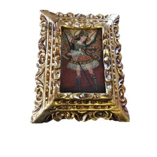 St Michael Framed Colonial Cuzco Oil Painting on Canvas For Sale