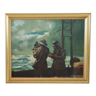 Navigating the Rough Seas Oil Painting W/ Gold Frame For Sale