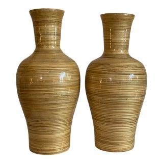 Pair of Oversized Split Reed Wrapped Ceramic Vases For Sale