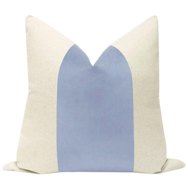 """Pair of beautiful 22"""" natural linen pillows with a Powder Blue velvet center and solid natural linen reverse. Meticulously..."""