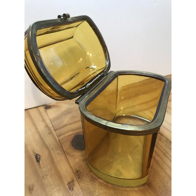 Late 19th Century 19th Century French Amber Glass Hinged Box For Sale - Image 5 of 7