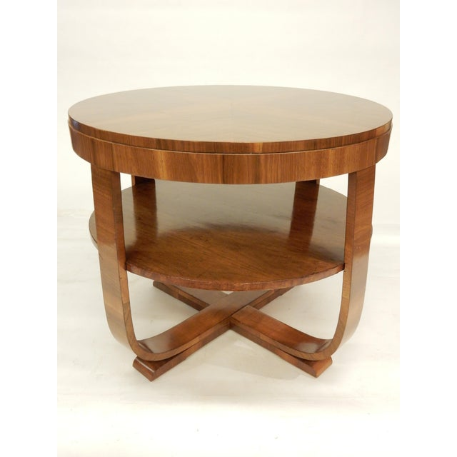 Art Deco walnut round side table with a shelf. This table blends in beautifully with antiques and contemporary furniture.