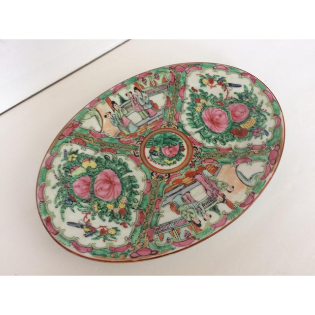 Rose Medallion Oval Serving Dish For Sale - Image 4 of 6