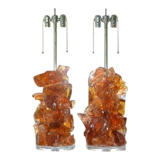 Glass Rock Lamp Sculptures in Peach For Sale