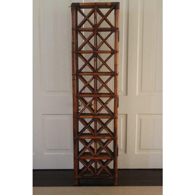 Vintage Bamboo Rattan Folding Room Divider For Sale - Image 9 of 12