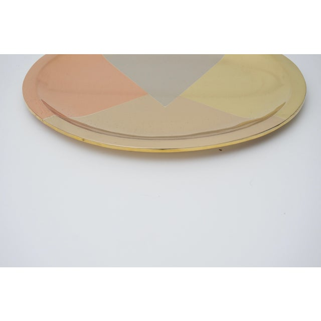 Bauhaus Mid-Century Modern Mixed-Metal Round Tray For Sale - Image 3 of 7