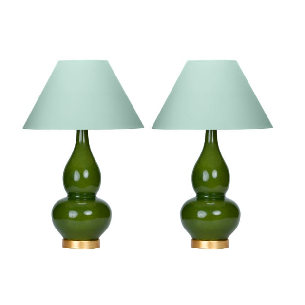 Casa Cosima Double Gourd Table Lamp, Olive Craquelure/Palladian Blue Shade - a Pair For Sale - Image 4 of 4