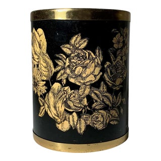 Vintage Milano Metal Wastebasket, Roses and Flowers manner of Piero Fornasetti For Sale
