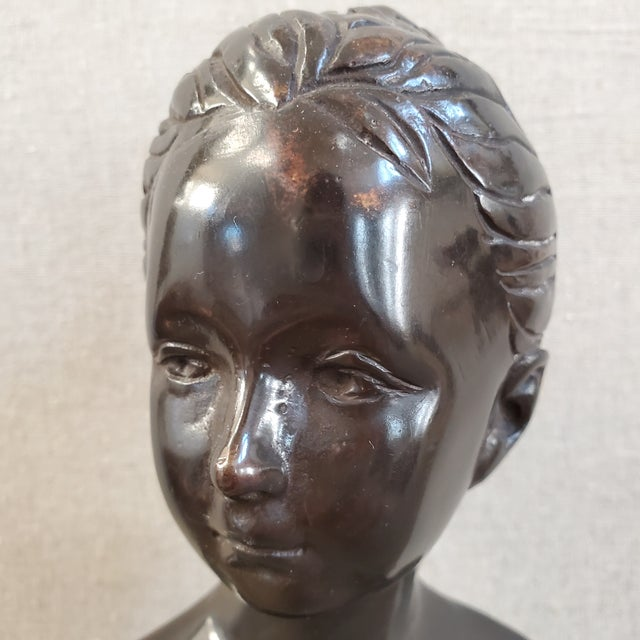 Traditional Female Bust on Italian Marble Base For Sale - Image 3 of 10