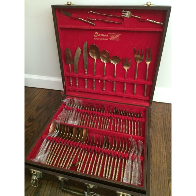 Asian Vintage Brass Bamboo Flatware - Set of 148 For Sale - Image 3 of 5