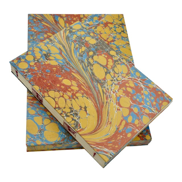 Yellow & Blue Coptic Notebooks- a Pair For Sale