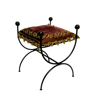 Roman Style Iron Bench With Velvet Cushion For Sale