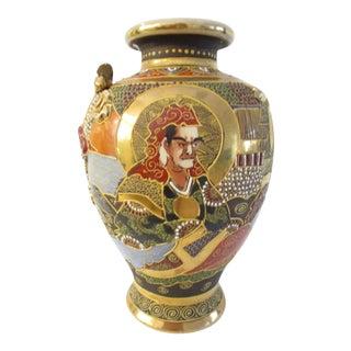 Meiji Period Japanese Satsuma Samurai Vase For Sale