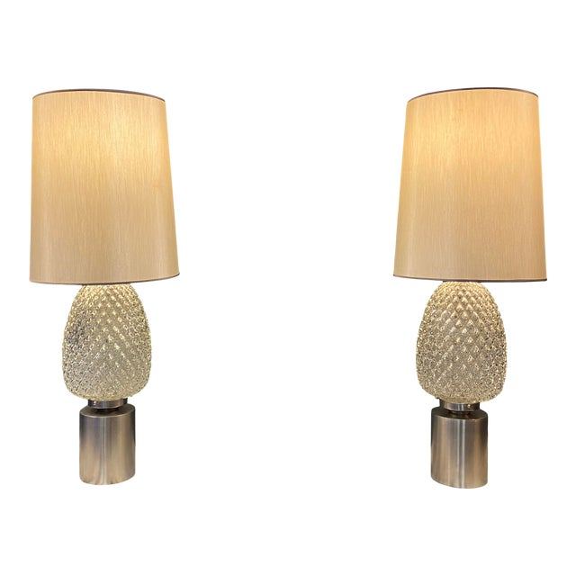 60s Pressed Glass Lamp - a Pair For Sale